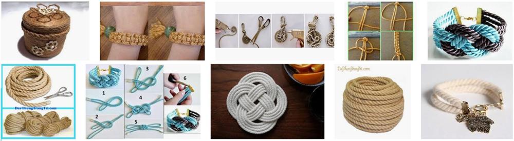 Trang sức handmadelàm bằng dây thừng, dây da