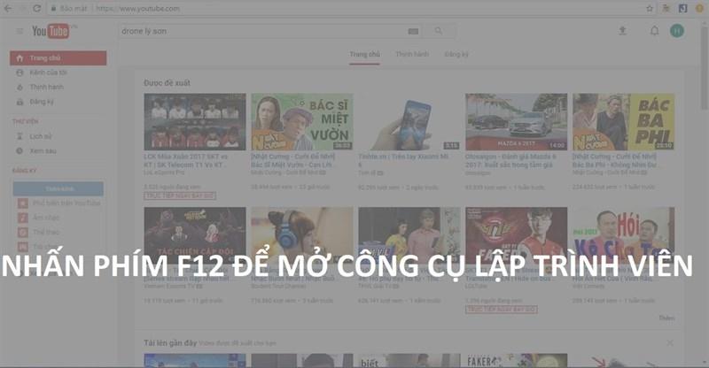 Tại giao diện mặc định (trắng) của Youtube > Bạn nhấn phím F12 để mở công cụ lập trình viên.