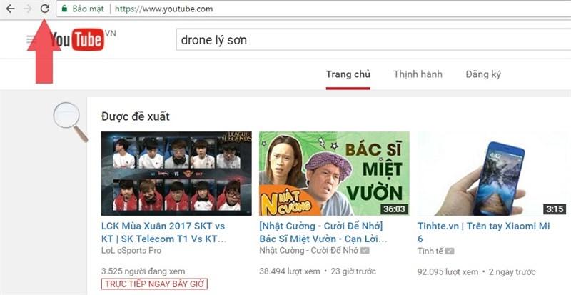Tải lại trang Youtube.