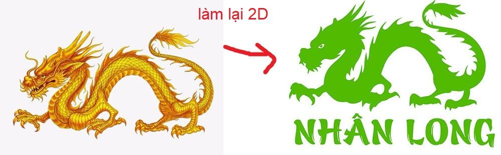 vẽ logo con rồng nhân long
