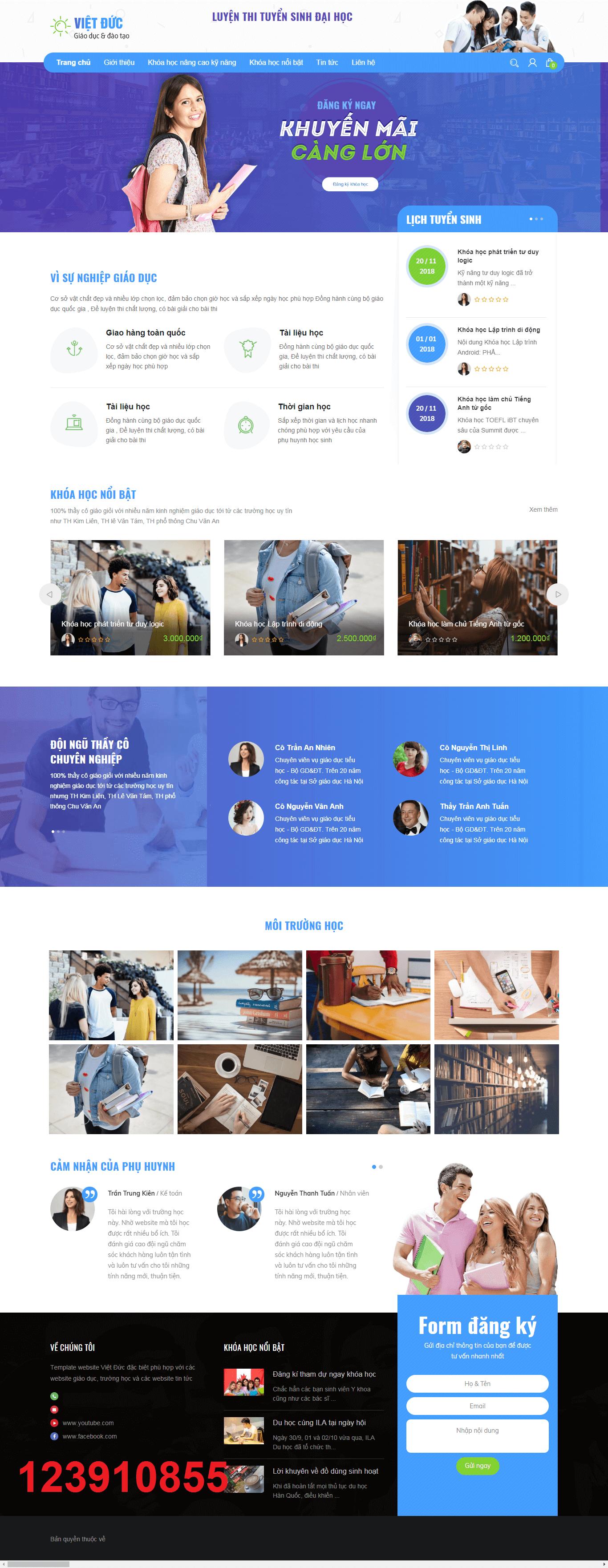 Mẫu web giáo dục Việt Đức 123910855