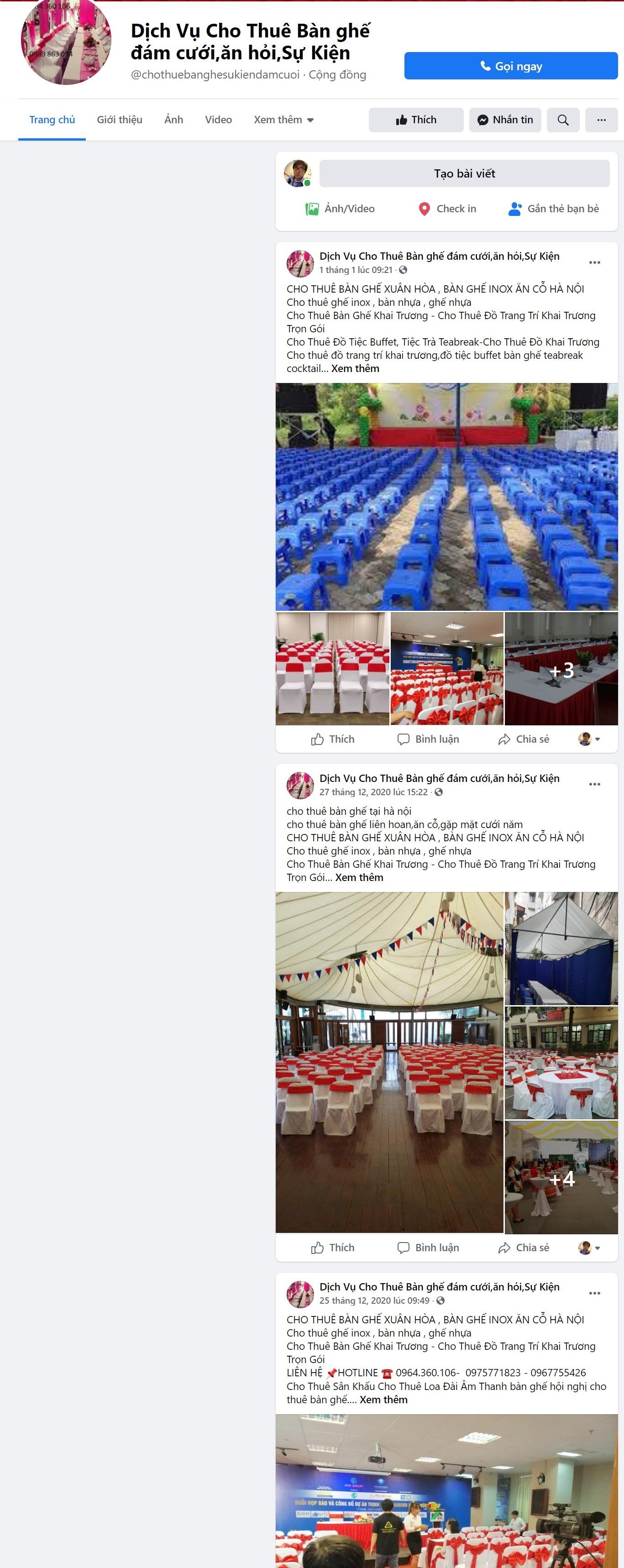 Tạo và phát triển fanpage facebook bán hàng bàn ghế -thietkewebchuyen