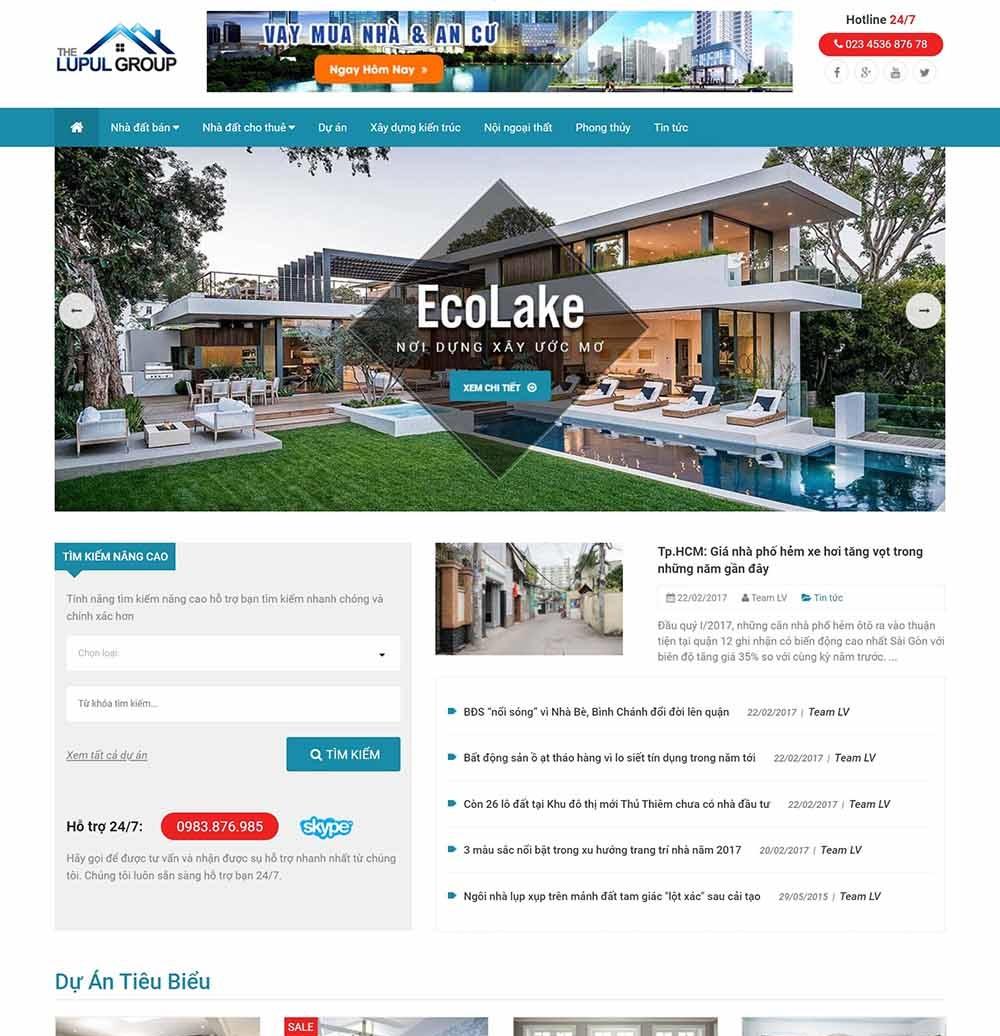 Thiết kế website bất động sản cho chủ đầu tư - thietkewebchuyen