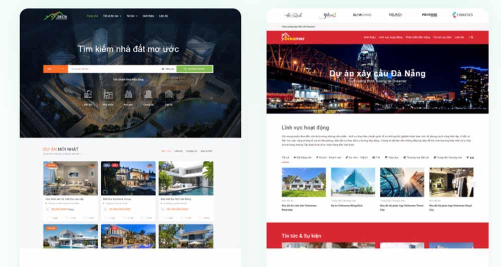 Thiết kế web bất động sản trọn gói - thietkewebchuyen